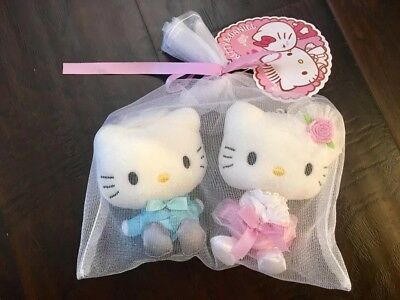 Hello Kitty And Daniel pink Flower kitty And Ring bearer Plush Sanrio