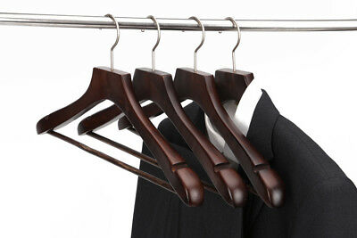 Extra Wide Natural Wooden Cherry Clothes Hangers Coat Suit Pant Solid No Slip
