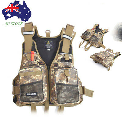 Adjustable Multi Fly Fishing Vest Outdoor Sport Camo Pocket Mesh Bag Lightwegiht