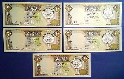 KUWAIT: 5 x 20 Dinars Banknotes - Almost Uncirculated Condition