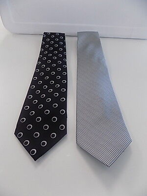 "ZODIAC Lot Of 2 Black Gray Silk Geo Print Textured Men's Neckties Size 57"" B3481"