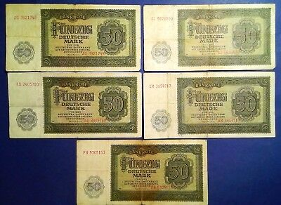 GERMANY: 5 x 50 Mark Banknotes (1948)  - Fine Condition