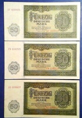 GERMANY: 3 x 50 Mark Banknotes (1948)  - Extremely Fine Condition