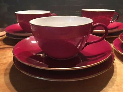 Shelley Red Tea Cup, Saucer And Plate Set 5 Piece