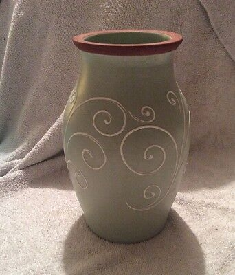 Vintage Denby Pottery Stoneware Vase - Pale Green With Swirl Design