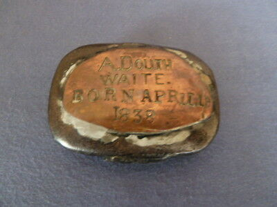 Antique Snuff Box Early 19C ? Metal with Copper Top Inscribed Name /Date 1838 AF