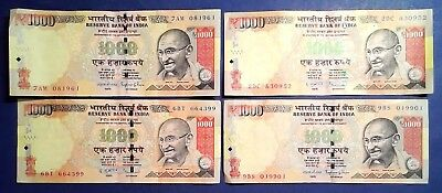 INDIA: 8 x 1,000 Rupee Banknotes - Extremely Fine Condition