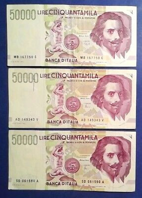 ITALY: 3 x 50,000 Lira Banknotes Very Fine Condition