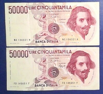 ITALY: 2 x 50,000 Lira Banknotes Very Fine Condition
