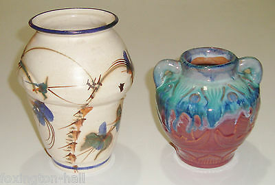 2 Beautiful Vintage Pottery Vases - Hand Painted & Art Nouveau Style