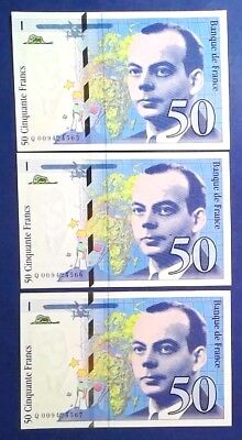 FRANCE: 3 x 50 Francs Banknotes Uncirculated & Consecutive