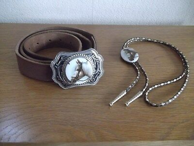 Country &  Western  Leather  Belt  With  Horse Belt Buckle & Horse String Tie