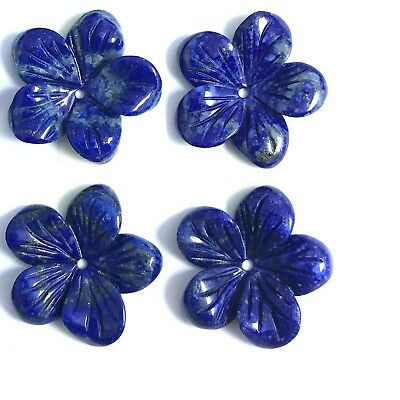 Natural Lapis Carved Flower 18mm , Creative, Design Use- 2 Piece / Lot, AB Grade