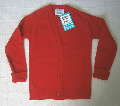 "Vintage Girls Cardigan - 30"" Chest - Red - V-Neck -Courtelle - New"