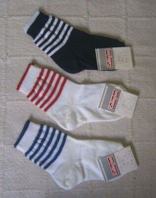 3 Pairs Vintage Quality Sox - Age 2 Years Approx - Striped Tops - Cotton  - New