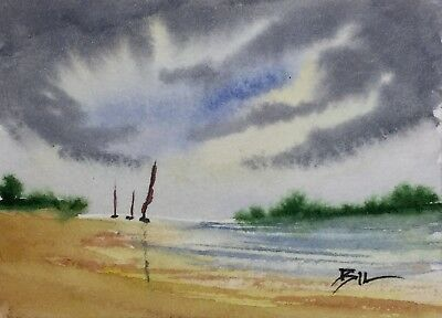 ACEO Original Art Watercolour Painting by Bill Lupton - Keep Together