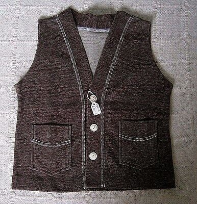 Vintage Stretch Waistcoat- Age 2 - 4 Approx - Brown - Cotton/Nylon - New