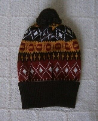 Vintage Childs Wooly Hat -  Brown/Tan/Rust - Brown Bobble - 5 Years - Teens -New