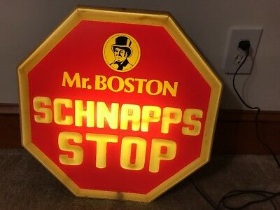 Vtg Mr.bostons Schnapp's Stop Sign Lighted Point Of Sale - Working Sign