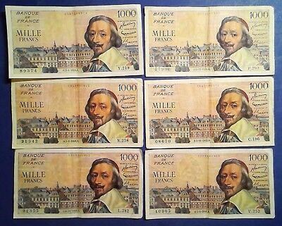 FRANCE: 10 x 1000 Mille Francs (Richelieu) Banknotes Very Fine Condition