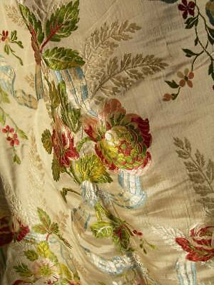 Large panel antique French 19th Century Lyon silk brocade fabric