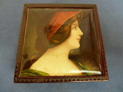 Antique Velvet Lined Wooden Pocket Watch / Jewelley Box. Female Portrait on Lid
