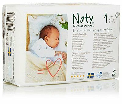 Naty by Nature Babycare Newborn ECO Nappies - Size 1, 2 x Packs of 26 52 Nappi