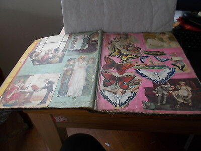 Good Large Victorian Scrapbook. Very Attractive Cut Outs.signed. Dated Xmas 1899