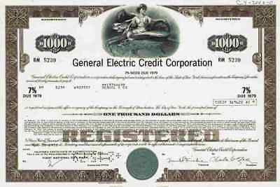 General Electric Corp. 1973 Boston Massachusetts Schenectady Fairfield 7 % Note