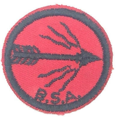 "Vintage Boy Scouts BSA Red 2"" Round Flaming Arrow Badge Patch"