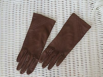 Stylish Collins Gloves (NSW) chocolate vintage dress gloves size 6.5