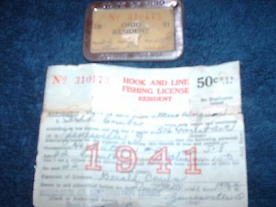 Vintage Resident Ohio 1941 Fishing License in Badge holder and paper License