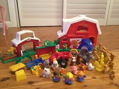 Fisher Price Little People Farm, Bulk Lot Animals, Tractor, Trailer, Old Mcdonal