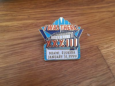 """Official NFL """" I Was There """" Super Bowl XXXIII  Pin Badge : Broncos   Falcons"""