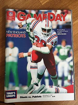 NFL Nov 8th 87  New York Giants V New England Patriots GameDay Programme Program