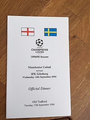 RARE 94/95 Manchester United V Gothenburg Champions League Official Dinner Menu