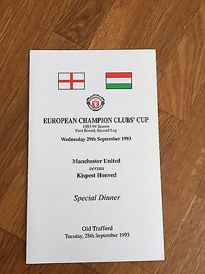 RARE 1993/94  Manchester United V Honved   European Cup Official Dinner Menu
