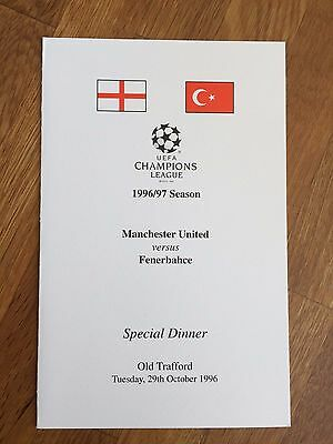 RARE 96/97 Manchester United V Fenerbahce Champions League Official Dinner Menu