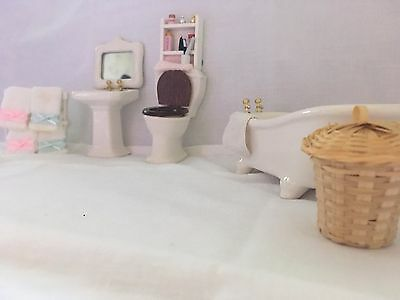 Dolls House Bathroom set (china and ) and includes bathroom decor
