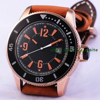 43mm Rose Gold PVD Case Sub Style Mens Auto Watch Black Dial Brown Straps 02