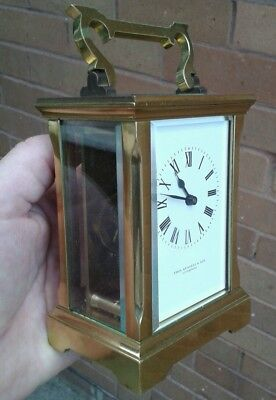 Very Good Quality, Fully Working Heavy Brass Carriage Clock, T.russell Liverpool