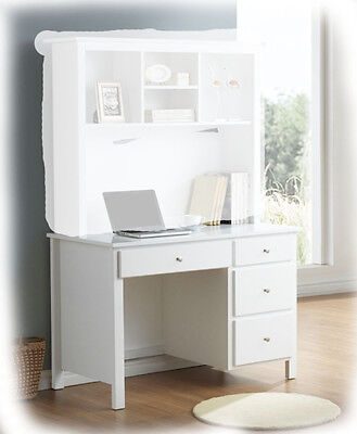 Bobby 4 Drawer White Hardwood Timber Desk - Fully Assembled - BRAND NEW