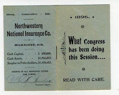 1896 What CONGRESS Has Been Doing This Session Northwestern National Insurance