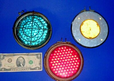 Lot Vintage Railroad Signal Light Hardware & Corning Marble Glass Reflectors