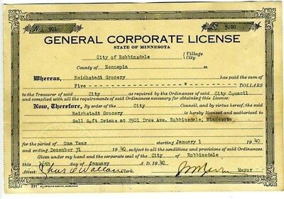 1940 Minnesota General Corporate License to Sell Soft Drinks Hennepin County