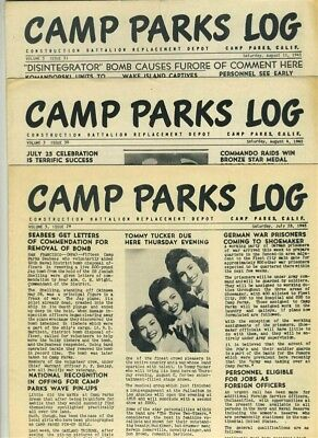 3 Issues of Camp Parks Log Seabees Construction Battalion Depot 1945 California