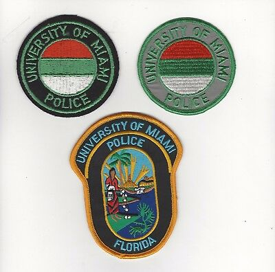 University of Miami Police Historical  Set of 3 Patches- Florida