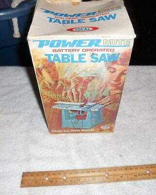 Vintage 1971 Ideal Power Mite Table Saw Toy Rare Original Box