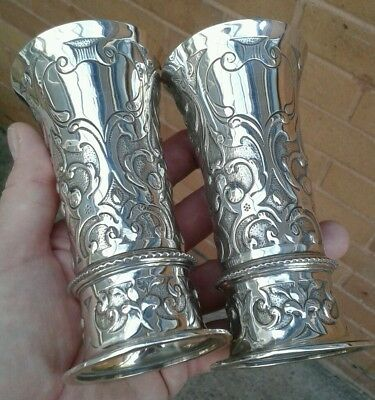 Beautiful Pair Of Fine Quality Solid Silver Antique Art Nouveau Mantle Vases..