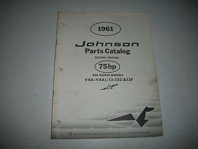 1961 Johnson V4S V4Sl 13 13C Electric Sea-Horse 75 Hp Outboard Parts List